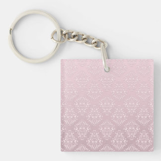 Pale Pink and White Vintage Style Damask Keychain