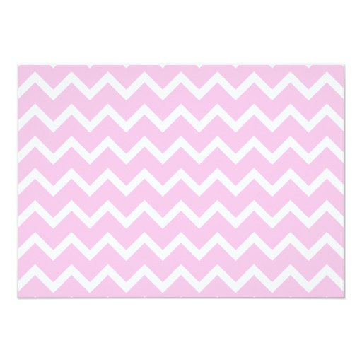 Pale Pink and White Zigzag Pattern. 5x7 Paper Invitation Card