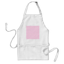 Pale Pink and White Zigzag Pattern. Adult Apron
