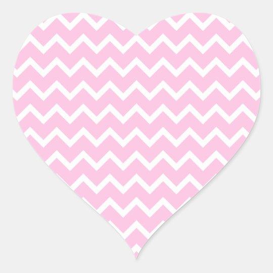 Pale Pink and White Zigzag Pattern. Heart Sticker