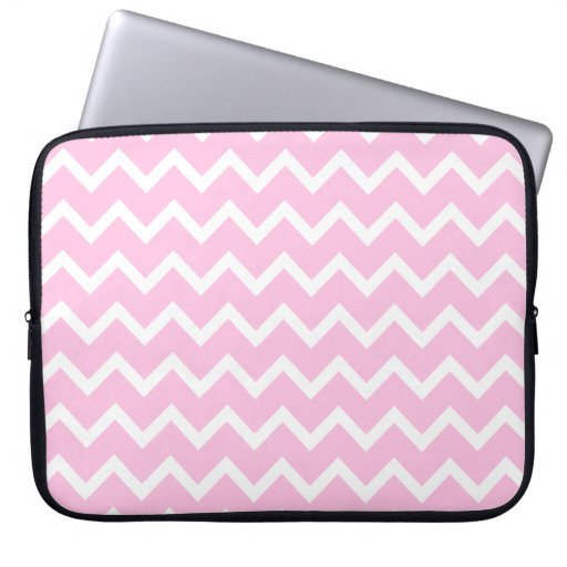 Pale Pink and White Zigzag Pattern. Laptop Computer Sleeve