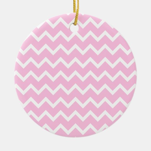 Pale Pink and White Zigzag Pattern. Ornaments