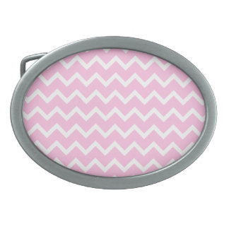 Pale Pink and White Zigzag Pattern. Oval Belt Buckle