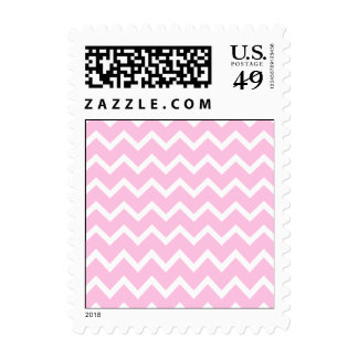 Pale Pink and White Zigzag Pattern. Postage