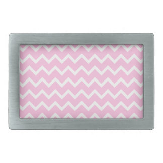 Pale Pink and White Zigzag Pattern. Rectangular Belt Buckles