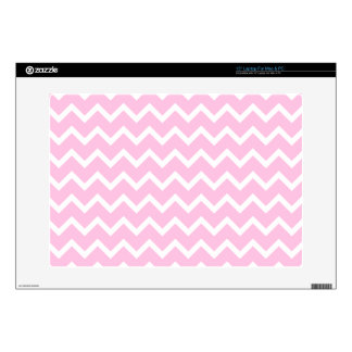 Pale Pink and White Zigzag Pattern. Skins For Laptops