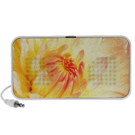 pale pink and yellow dahlia travelling speaker