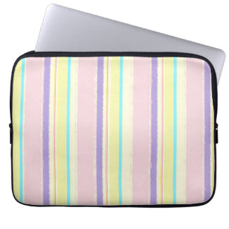 Pale Pink and Yellow Watercolor Stripes Laptop Sleeve