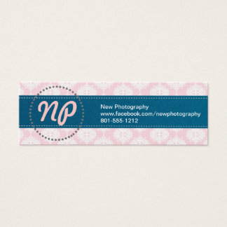 Pale Pink. Bold Blue. Simple Business Cards. Mini Business Card