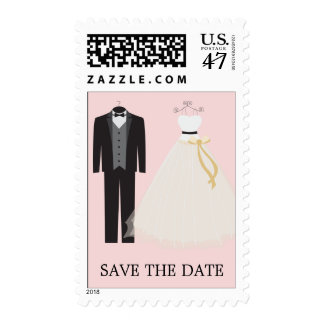 PALE PINK BRIDE AND GROOM | SAVE THE DATE POSTAGE
