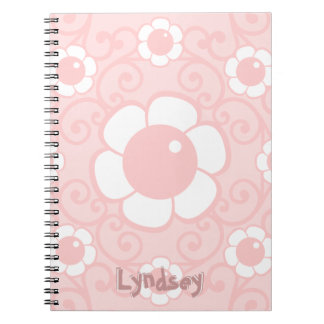 Pale Pink Cartoon Flower Blossom Your Name Text Notebook