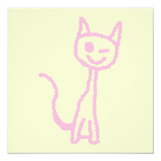 Pale Pink Cat, Winking. Card