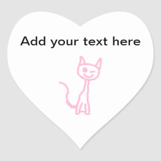 Pale Pink Cat, Winking. Heart Sticker