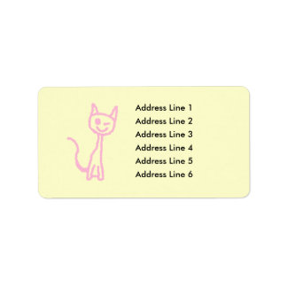 Pale Pink Cat, Winking. Label