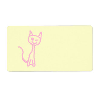 Pale Pink Cat, Winking. Shipping Label