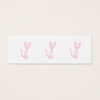 Pale Pink Cat, Winking. Mini Business Card