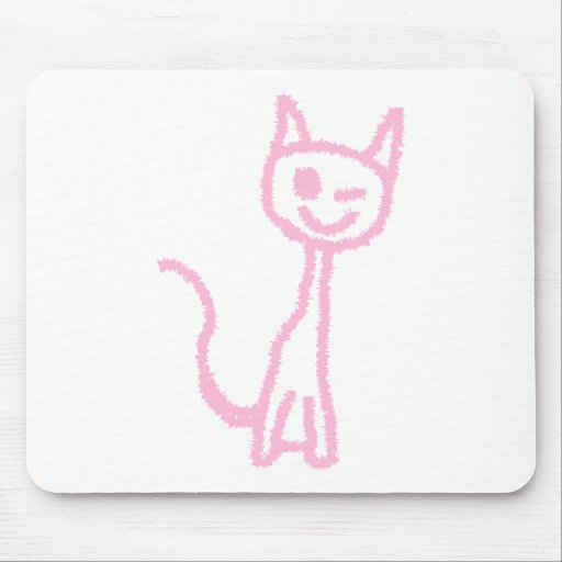 Pale Pink Cat, Winking. Mouse Pads