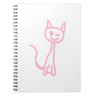 Pale Pink Cat, Winking. Notebook