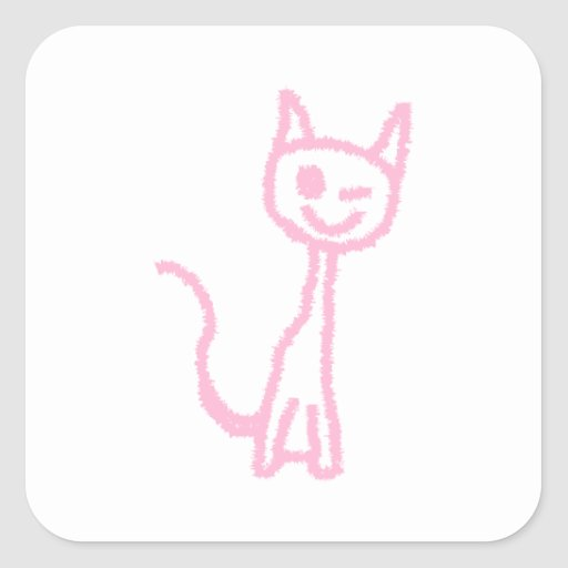Pale Pink Cat, Winking. Square Stickers