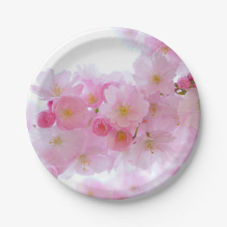 Pale Pink Cherry Blossoms Paper Plates