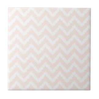 Pale Pink Chevron Ikat Pattern Ceramic Tile