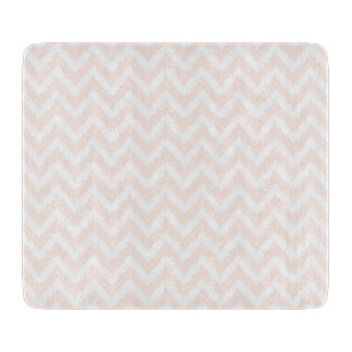 Pale Pink Chevron Ikat Pattern Cutting Board