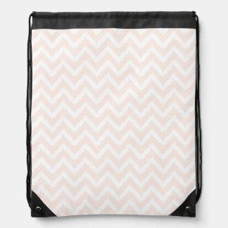 Pale Pink Chevron Ikat Pattern Drawstring Backpack