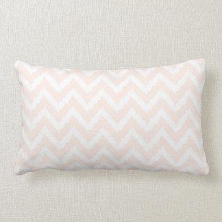 Pale Pink Chevron Ikat Pattern Lumbar Pillow