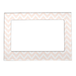 Pale Pink Chevron Ikat Pattern Magnetic Picture Frame