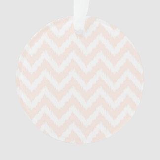 Pale Pink Chevron Ikat Pattern Ornament