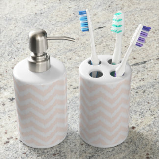 Pale Pink Chevron Ikat Pattern Soap Dispenser And Toothbrush Holder