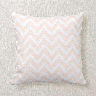Pale Pink Chevron Ikat Pattern Throw Pillow