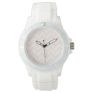 Pale Pink Chevron Ikat Pattern Watch