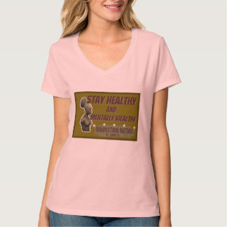 Pale pink color Stay Healthy female V-neck tee