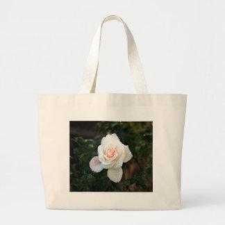 Pale pink & cream rose & raindrops large tote bag
