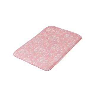 Pale Pink Damask Bath Mats