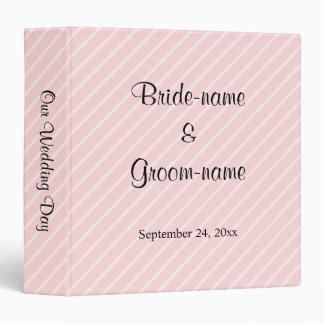 Pale Pink Diagonal Stripes Wedding 3 Ring Binder