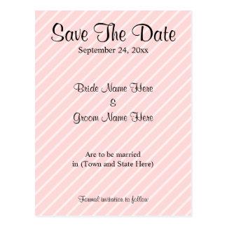Pale Pink Diagonal Stripes Wedding Save The Date Postcard