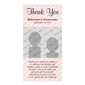 Pale Pink Diagonal Stripes Wedding Thank You Card