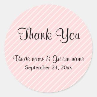 Pale Pink Diagonal Stripes Wedding Thank You Classic Round Sticker
