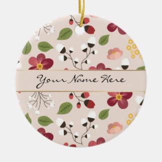 Pale Pink Dog Rose, Rosehips & Mistletoe Ceramic Ornament