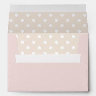 Pale Pink Envelope With Beige Polka Dot Print