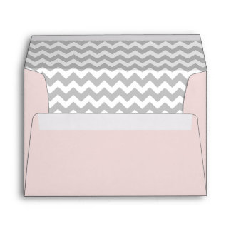 Pale Pink Envelope With Gray Chevron Print