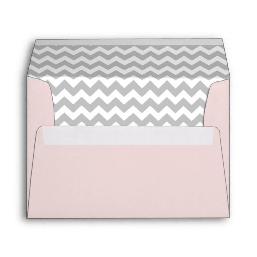 Pale Pink Envelope With Gray Chevron Print