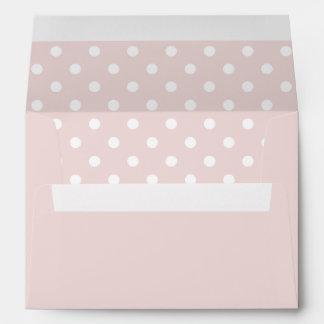 Pale Pink Envelope With Pale Pink Polka Dot Print