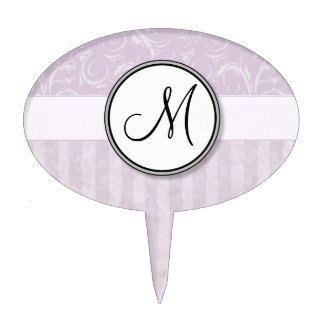 Pale Pink Floral Wisps & Stripes with Monogram Cake Toppers