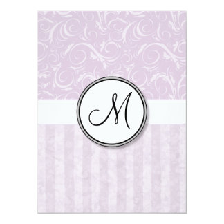 Pale Pink Floral Wisps & Stripes with Monogram Card