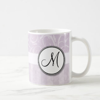 Pale Pink Floral Wisps & Stripes with Monogram Coffee Mug