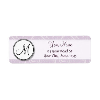 Pale Pink Floral Wisps & Stripes with Monogram Label