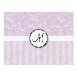 Pale Pink Floral Wisps & Stripes with Monogram Postcard